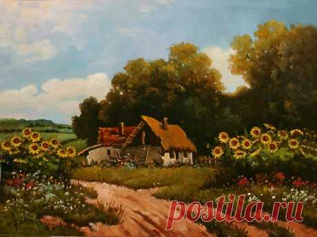 Stories from the old farm - sunflowers  50×60cm, oil on canvas… For sale… 550$