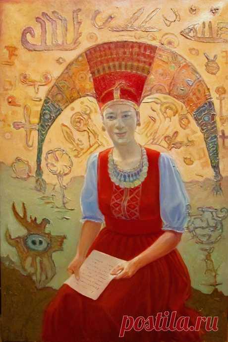 Портрет в национальном стилизированном костюме. 12х90 см  холст, масло цена 2700$
