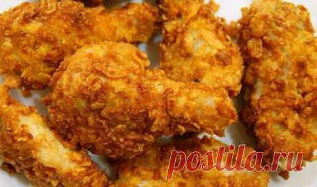 Хрустящие куриные крылышки как в KFC. Маленький секрет этого блюда кроется именно в кукурузной панировке, которая делает крылышки по-настоящему хрустящими.
