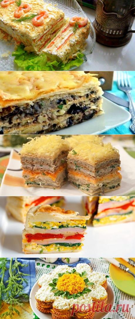 Закусочный торт из готовых вафельных коржей, слоеного теста, крекеров и с разными начинками