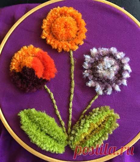 Bordado de lana con mechones alemán (también conocido como Amish Stumpwork o Plushwork) »Knitting-and.com