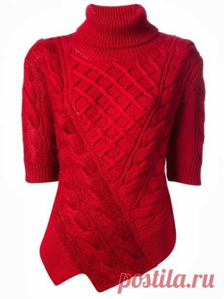 Пуловер красный с ажурными косами. Пуловер спицами схема | Я Хозяйка