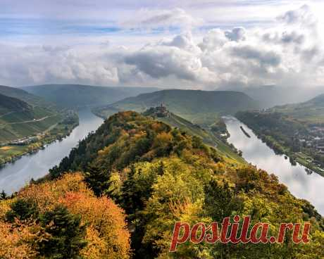 Картинки германия, осень, реки, river, moselle, холмы, облака, сверху, природа - обои 1280x1024, картинка №418979