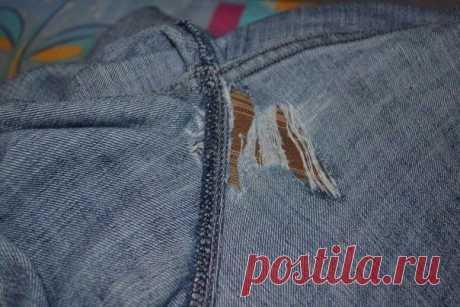Как аккуратно и незаметно зашить нитку на джинсах