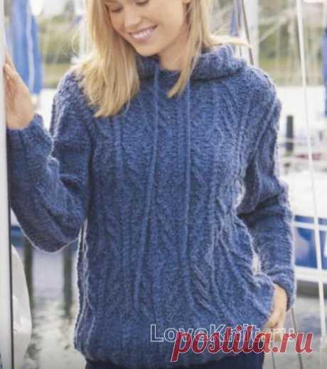 Пуловер в спортивном стиле с капюшоном и косами схема спицами » Люблю Вязать