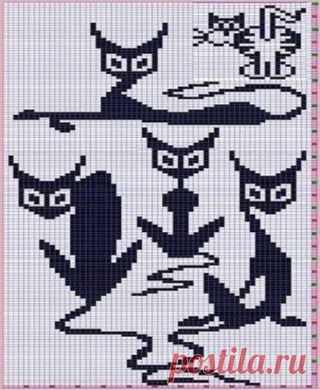 Подборка жаккардовых узоров с котиками! из категории Интересные идеи – Вязаные идеи, идеи для вязания