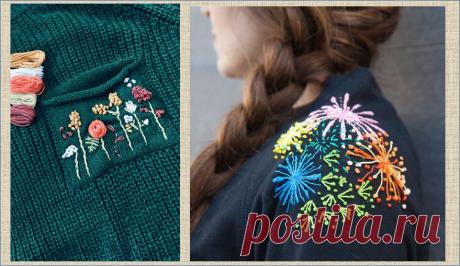 Вышивка - переделка кофточки или свитера без перекроя - примеры и образцы для вдохновения | МНЕ ИНТЕРЕСНО | Яндекс Дзен