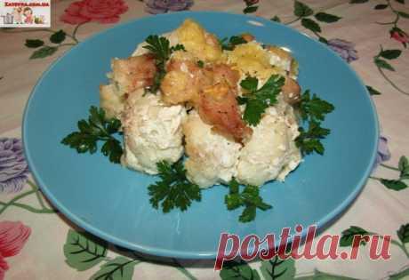 Курица с цветной капустой под сливочным соусом и сыром (в духовке) — Кулинарная книга