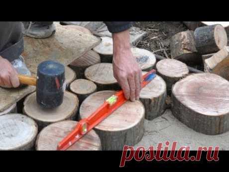 Terrasse en bois debout, matériaux en bois, terrasse en rondins, outdoor wood terrace - YouTube