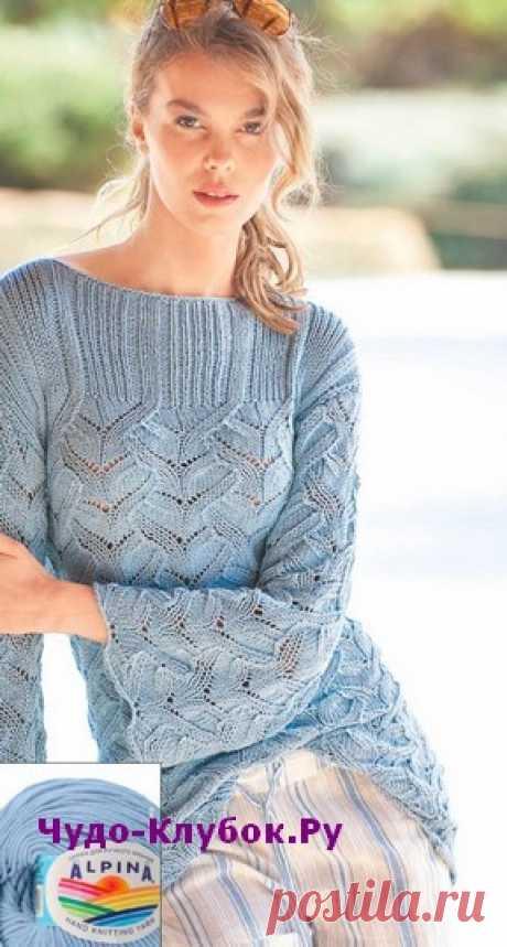 Голубой пуловер вязаный спицами 1899 | ✺❁сайт ЧУДО-клубок ❣ ❂✺Голубой пуловер вязаный спицами 1899, описание и схемы к нему: ❂ ►►➤6 000 ✿моделей вязания ❣❣❣ 70 000 узоров►►Заходите❣❣ %