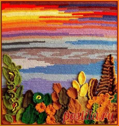 Панно, картины, букеты цветов, связанные крючком.