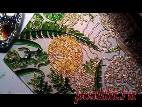 Витражная роспись по стеклу | Одуванчики - YouTube
