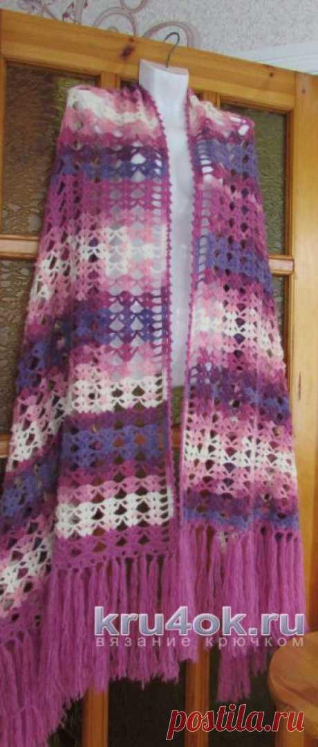 Вязаный палантин крючком схемы вязания. Красивые ажурные шали палантины с описанием.
