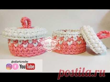 Cesto  com fio de malha | Porta cotonete e algodão | Edi Art Crochê