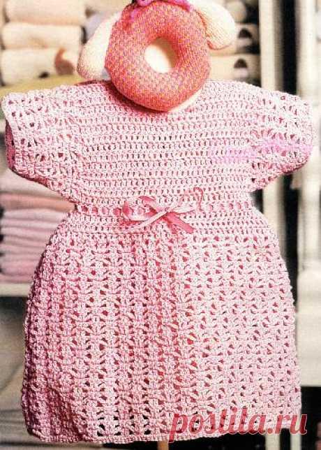 Платьице для девочки крючком - Описание вязания, схемы вязания крючком и спицами | Узорчик.ру