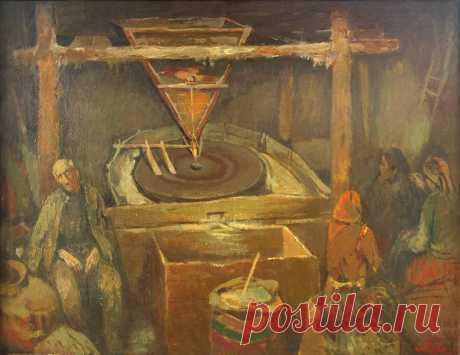 Հուշերի ջրաղացում. Էդուարդ Արծրունյան Memories of the mill. Edward Artsrunyan .Ջրաղացում, 1971 In the mill 1971 Ջրաղացում, 1989 թ «Ռեմբրանտին շատ կսիրեմ, ինձ նման ջրաղացպանի որդի էր, ինքն էլ շատ ջրաղաց կնկարեր»,-ասել է նկարիչ Էդուարդ Արծրունյանը: Իրականում ջրաղացը Արծրունյանի մանկության հուշերի և իրական կյանքի հանգրվանն է, որը նրան թույլ է տվել ստեղծելու իր` արծրունյանական աշխարհը, որով էլ նա առանձնանում է իր վրձնակից ընկերներից: