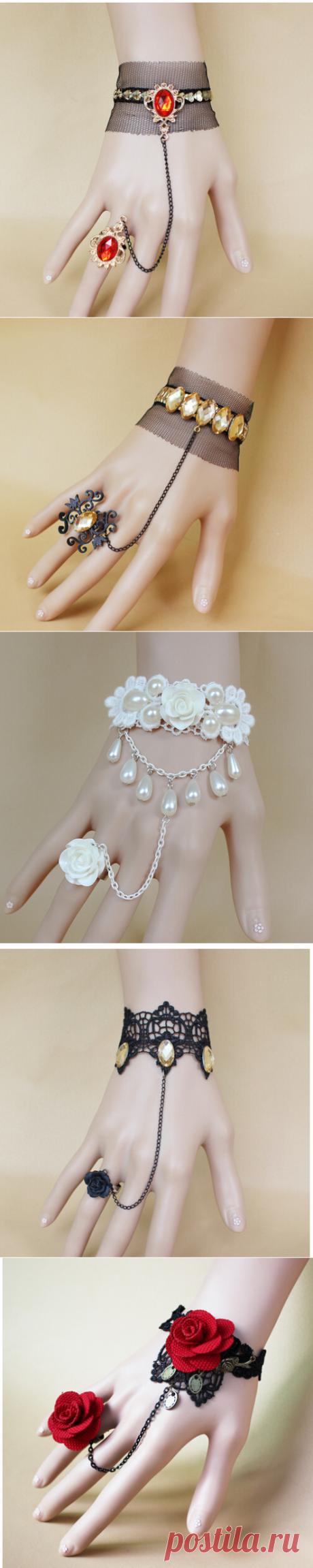 Ручной красная ткань роза готического шнурка повелительницы черный браслет женский палец браслет B61 купить на AliExpress