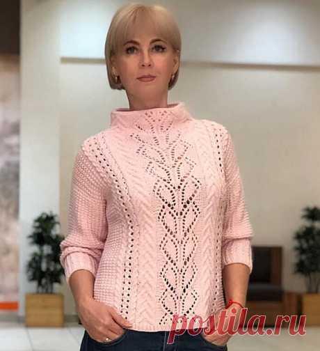 Эффектный пуловер миксом узоров (схема)