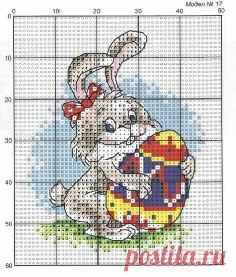 Вышивка пасхальный кролик. Скачать бесплатно схемы вышивок крестом на пасху | Я Хозяйка
