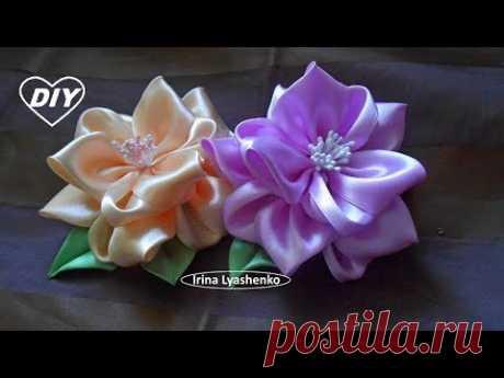 Цветок канзаши пышный объемный МК🌹Kanzashi flower of ribbons🌹Flor de la cinta🌹244