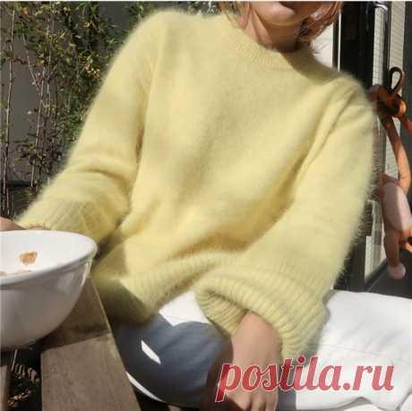 HAMALIEL корейский шикарный норковый кашемировый теплый женский свитер, зимний модный желтый вязаный Мягкий Топ, повседневные свободные пуловеры с длинным рукавом-in Пуловеры from Женская одежда on AliExpress - 11.11_Double 11_Singles' Day