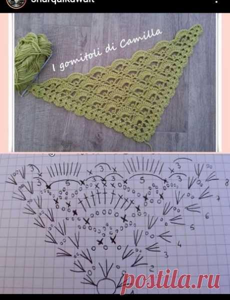 Идея. Красивая схема для шали/бактуса #идея_@crochet_group #шаль
