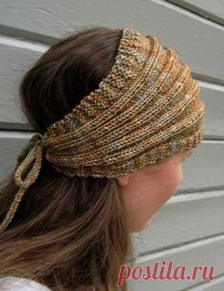 Широкая повязка на голову спицами
