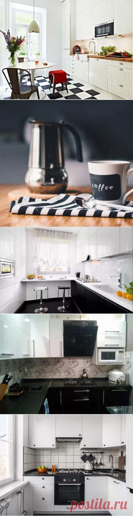Кухни: дизайн черно-белых интерьеров