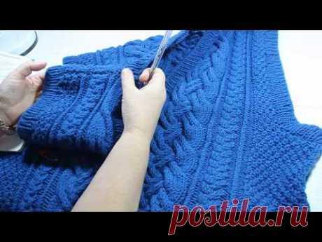 Вязание мужского жилета с косами. Мастер-класс. Knitting of a men's vest with braids. Master class.