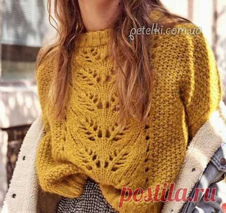 Пуловер с центральным ажурным узором. Схемы и выкройка