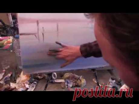 Aprender dibujar el paisaje de mar, el mar, el yate, las lecciones de la pintura al óleo, Sakharov