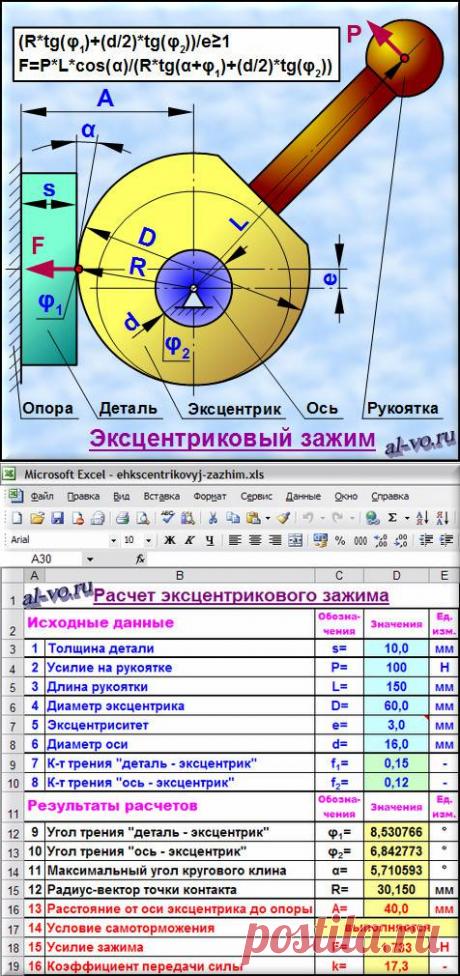 Эксцентриковый зажим. Расчет в Excel. | Блог Александра Воробьева