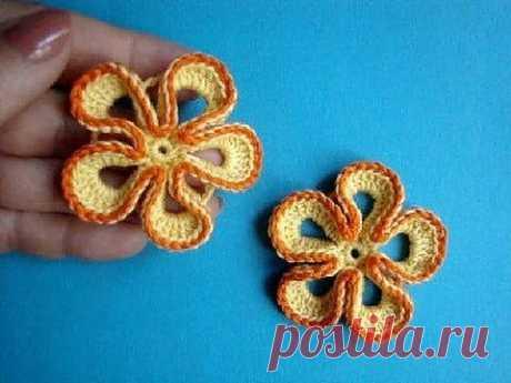 ▶ Вязаный крючком цветок Урок 29 Сrochet flower pattern - YouTube