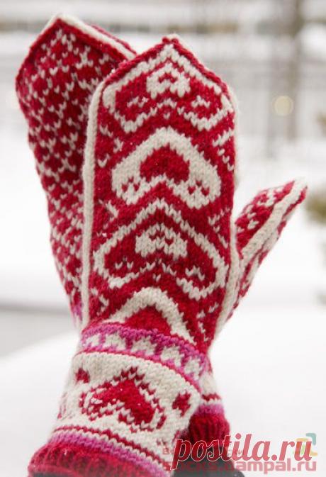 Вязаные носки и варежки «Hearts»спицами от ДРОПС