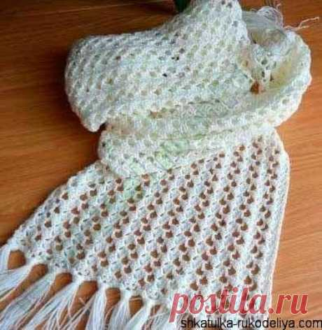 Ажурный шарф крючком Ажурный шарф с бахромой крючком. Шарф крючком для начинающих.