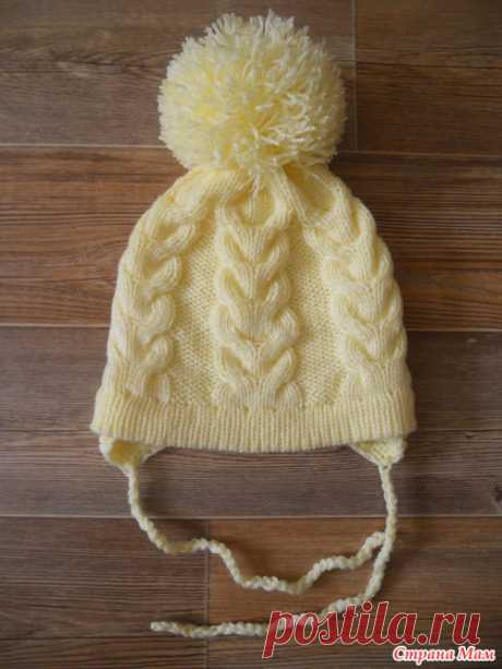Вязание спицами. Двойная шапочка с помпоном (очень подробно). МК.