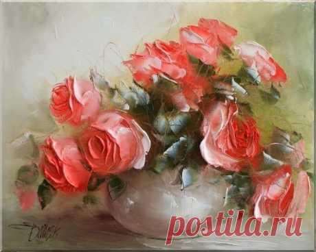 розы в живописи акрилом - Поиск в Google