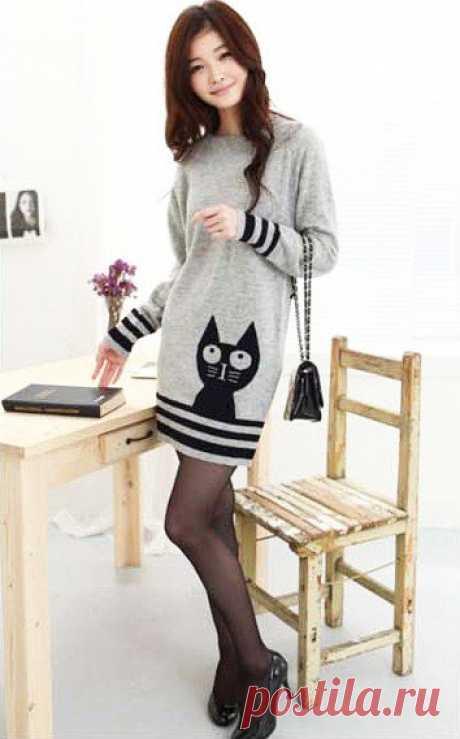 Серое платье-туника с узором «Кот» – схема вязания