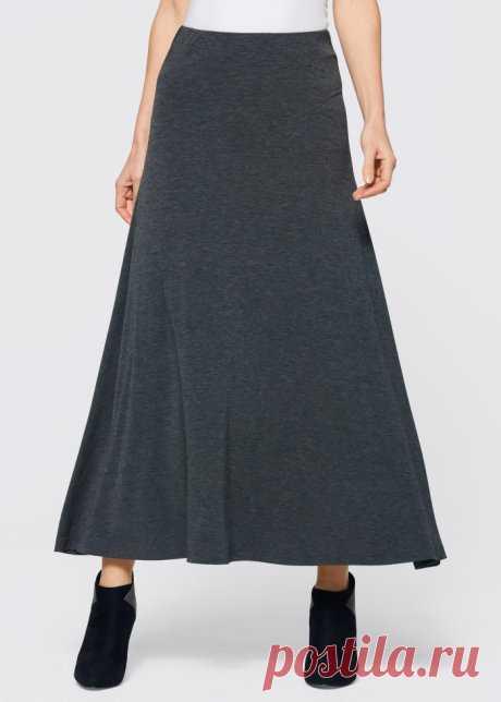 Женственная, слегка расклешенная трикотажная юбка с мягкими складками - антрацитовый меланж