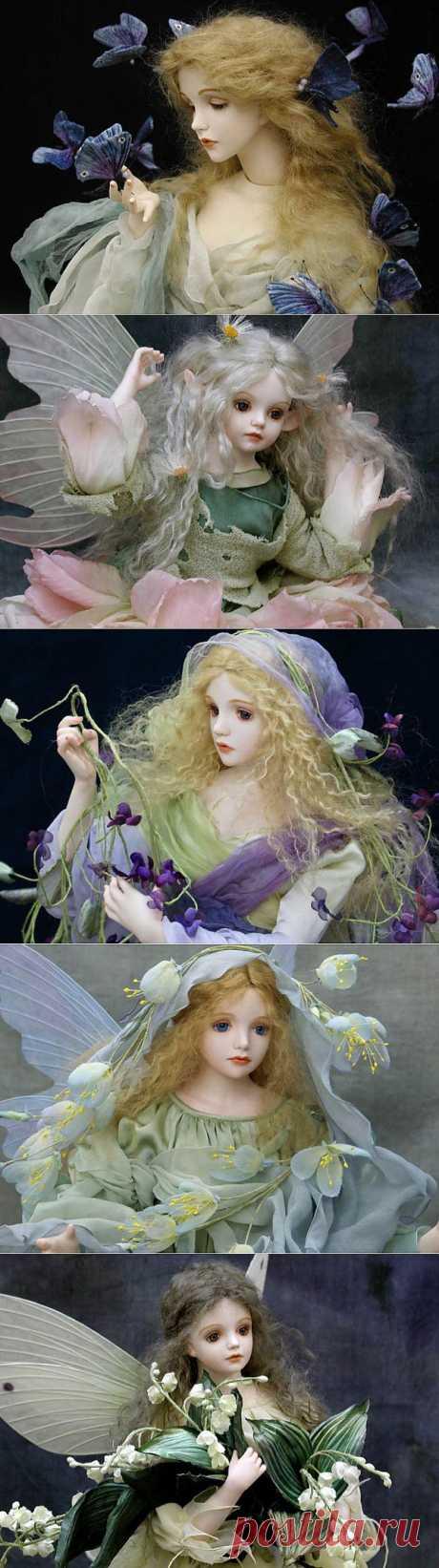 Цветы и бабочки. воздушные куклы от Wakastuki Mariko