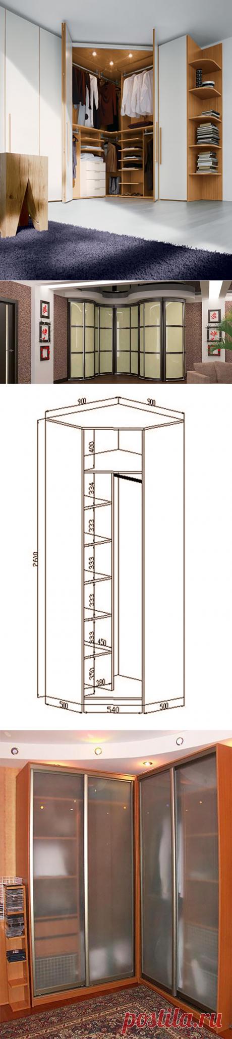 El armario-departamento angular en el dormitorio