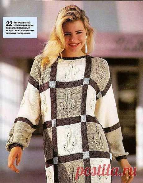 Пуловер спицами из квадратов с листочками