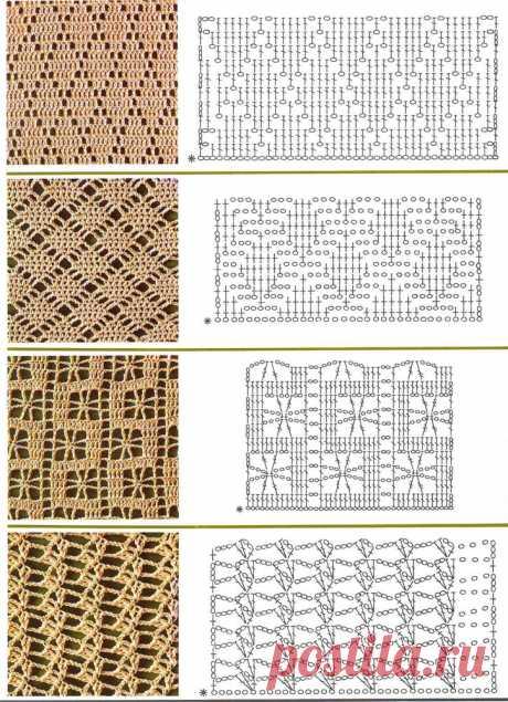 Ажурные узоры крючком со схемами | Журнал Ярмарки Мастеров