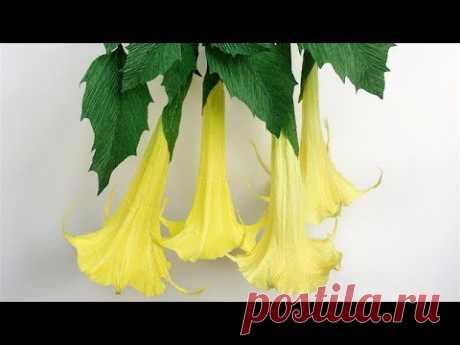 ABC TV | Как сделать бумажный цветок Brugmancia из крепированной бумаги - учебник по ремеслу