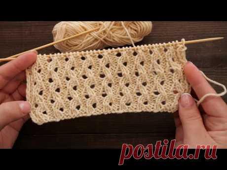 Резинка из ажурных петель спицами 🥨 Lace Ribs - Knitting Stitch Patterns