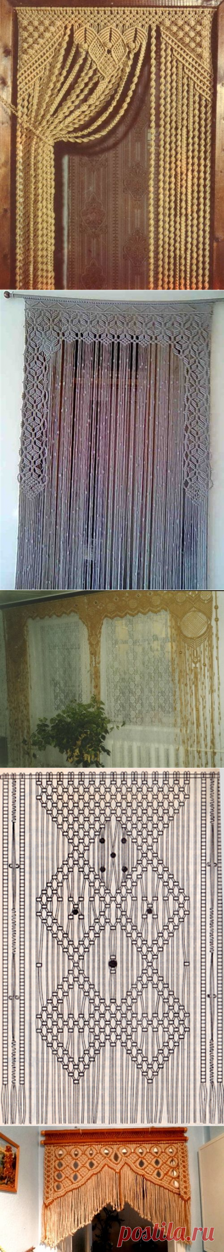 Macrame curtains on windows and doors: weaving by the hands