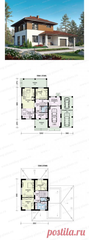 Проект двухэтажного дома 181м² из газобетона с террасой, гаражом и навесом для автомобиля | Проекты Коттеджей | Яндекс Дзен