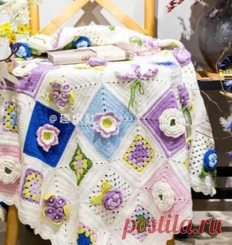 Плед из квадратов с объемыми цветами схема | Ladynweb.ru