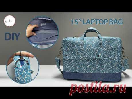 Как сшить сумку для ноутбука с несколькими карманами?