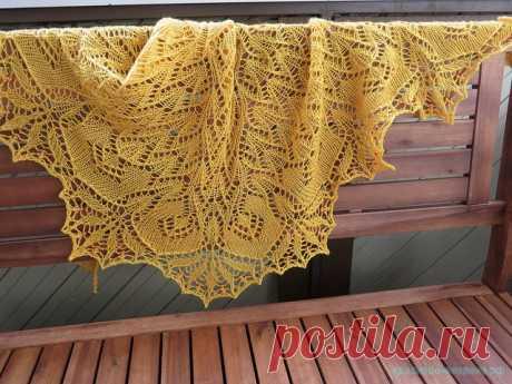 Шаль «Золотая орхидея» — Красивое вязание